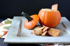 Pumpkin hummus {in a pumpkin for decoration}
