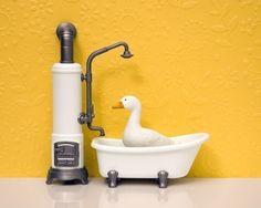 sunny duck print, bathroom decor, bright cheery yellow, retro - Dirty Duck  8 x 10 by Jeff @WildLifePrints