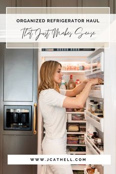 Take a look into this well organized refrigerator and read along for tips and ideas on how to get your refrigerator organized. Here at J. Cathell