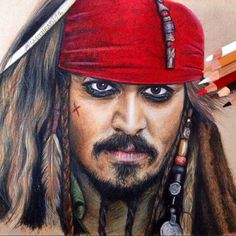 Coloured pencil drawing of Captain Jack Sparrow! Prismacolor on Earthbound paper!