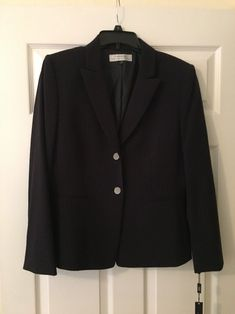 Levine Lined Blazer Size 4 Humorous Tahari Arthur S Black With White Pinstrips Rich And Magnificent