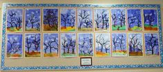"These ""Fall Tree Paintings"" were completed by Grade 2 students."