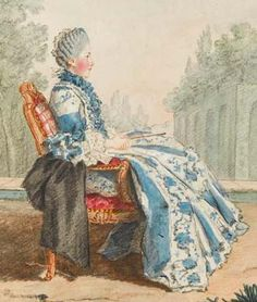 Marie-Elisabeth de Talleyrand-Périgord, Comtesse de Chabannes, one of Madame Adelaide's long serving ladies.  She was a Talleyrand-Perigord by birth.  The painting dates from 1759 - notice the hair starting to creep higher...