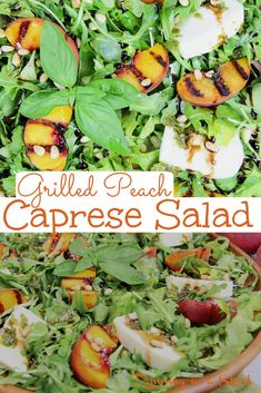 Grilled Peach Salad Recipe - The Best Grilled Peach Caprese Salad with grilled peaches, fresh mozzarella, basil, pine nuts, balsamic glaze and with arugula. Looking for healthy summer salad recipes with fruit? This is it! Includes the perfect Peach Salad Dressing. Clean Eating, Vegetarian, Low Calorie, Low Carb / Running in a Skirt #healthy #peachrecipe #peaches #grilling #vegetarian #caprese