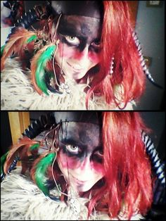 I tried the war paint and the headdress of my shaman for LARP.   Love it and can't wait to sew the costume in October.  #larp,  #shaman, #grv, #warpaints