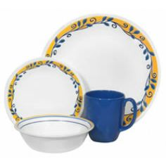 My everyday dishes. Casa Flora by Corelle. White Dinner Plates, Dinner Plate Sets, Dinner Sets, Corelle Patterns, Serveware, Tableware, Soup Bowl Set, Everyday Dishes, Stoneware Mugs
