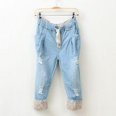 Mori Girl Style Turn-over Leapard Broken Hole Denim Pants