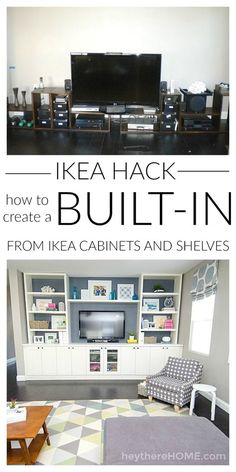 Mind blowing IKEA hack! You can save so much money if you know how to create your own built in using IKEA cabinets and shelves to create your own entertainment center in your family room.