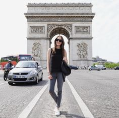 @morganlschadegg explores Paris in her grey J BRAND jeans. #InMyJBRAND