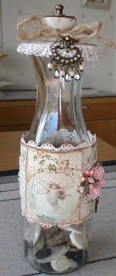 a shabby chic decorated bottle Altered Bottles, Vintage Bottles, Bottles And Jars, Glass Jars, Bottle Box, Bottle Vase, Bottle Lamps, Shabby Chic Crafts, Wine Bottle Crafts