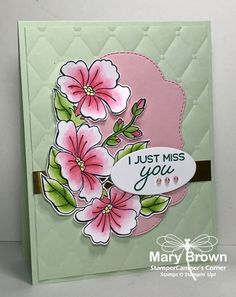 I Just Miss You - Blended Seasons by stampercamper - Cards and Paper Crafts at Splitcoaststampers Miss You Cards, Stampin Up Catalog, Embossed Cards, Friendship Cards, Stamping Up Cards, Cards For Friends, Copics, Sympathy Cards, Flower Cards