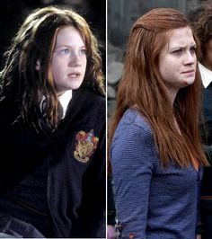 Bonnie Wright: Left: In 2002's Harry Potter and the Chamber of Secrets Right: In 2011's Harry Potter and the Deathly Hallows: Part 2