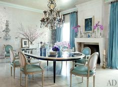 TRADITIONAL DINING ROOM BY MARTYN LAWRENCE BULLARD DESIGN  The Directoire-style fireplace in the dining room of Sharon and Ozzy Osbourne's L...