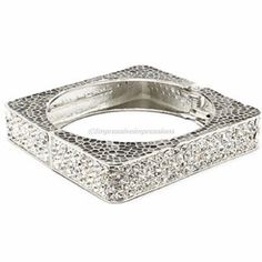 TRENDY SQUARE RHINESTONE SILVER BANGLE STACKABLE BRACELET #PARISCOLLECTION #cuff