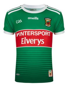 Kids Mayo Home Jersey 2019 Support your county with the all-new Mayo Home Jersey for kids. The official 2019 GAA jersey features 3 Stripes on the shoulders, the team crest and a striking green colourway. Finished with a Mayo crest watermark on the lower back for an authentic look. The Details Crewneck with short sleeves Made from lightweight Koolite material Mayo crest proudly displayed over the left chest Faded hoop design in a green colourway Three stripes on the shoulders, size 9-10Y Football Kits, Short Sleeves, Hoop, Kids, Stripes, Green, Design, Products, Soccer Kits