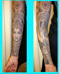 Taino Indian Tattoos - The Timeless Style of Native American Art - Tattoo Shops Near Me Local Directory - Saraswati tattoo. Black and grey sleeve tattoo. Saraswati Hindu goddess tattoo by - Kali Tattoo, Ganesh Tattoo, Tatoo Hindu, Buddhist Symbol Tattoos, Krishna Tattoo, Tribal Forearm Tattoos, Tribal Sleeve Tattoos, Tattoo Sleeve Designs, Geometric Tattoos