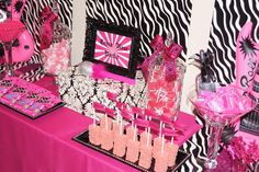 I love all the decorations... pink and zebra! (My daughters rock star party)