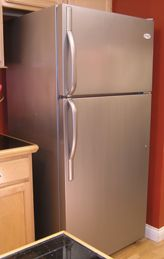 Thomas Liquid Stainless Steel brushed on a cheap, regular pebbled finish refrigerator. Automotive grade brushed stainless steel paint; easy to DIY. Use on appliances, cabinets, table tops, furniture, & more.
