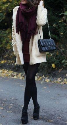 Ivory + burgundy.