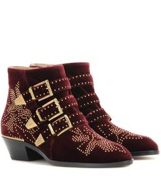 mytheresa.com - Susanna studded velvet ankle boots - Luxury Fashion for Women / Designer clothing, shoes, bags