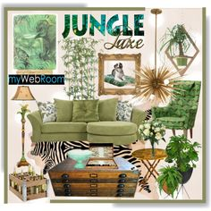 Jungle Luxe Contest * Green Living Room by calamity-jane-always on Polyvore featuring interior, interiors, interior design, home, home decor, interior decorating, Arteriors, Pacific Coast Lighting, Retrò and Tommy Bahama