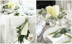 Green and white Christmas table setting