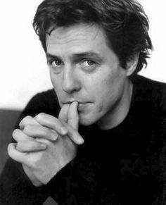 Hugh Grant, male actor, cute, celeb, hands, British, fingers, hot, sexy, powerful face, intense, strong, portrait, photo b/w.