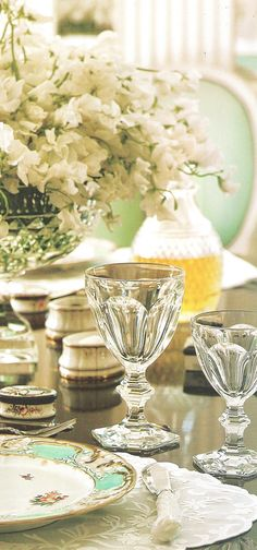 gorgeous mint, cream, and crystal tabletop.  Albert Hadley Interior Design. Washington DC residence, detail crystal room. Image Traditional Home Nov 2003