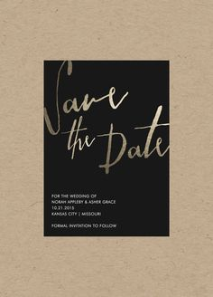 Minimalistic Gold Save the Date // 4.25x5.5 // $20.00 by blacklabstudio