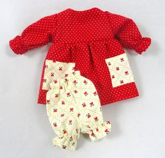 Toy Doll Clothes: Red Dress Ivory Bloomers by JoellesDolls on Etsy