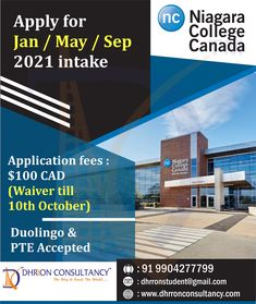 Niagara College is widely recognized for its student satisfaction they provide outstanding higher education Admission open for #2021Intake To get admission, Call: 9904277799 Email: dhrronstudent@gmail.com Apply For College, Air Tickets, How To Apply, How To Get, Ielts, Higher Education, Canada, Student, Air Flight Tickets