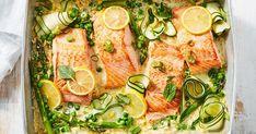 Salmon recipes 408772103678049480 - Creamy lemon salmon tray bake Source by vikkcab Tray Bake Recipes, Pea Recipes, Salmon Recipes, Seafood Recipes, Cooking Recipes, Healthy Recipes, Savoury Recipes, Sushi Recipes, Dinner Recipes