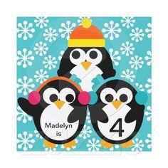 Penguin birthday party invitations.