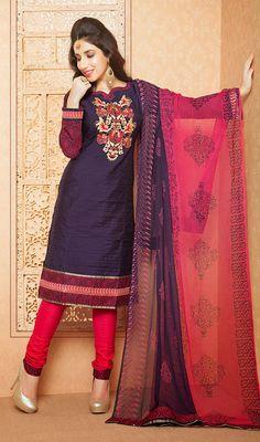 Navy Blue Chanderi Long Sleeve Churidar Suit Price: Usa Dollar $98, British UK Pound £58, Euro73, Canada CA$106 , Indian Rs5292.