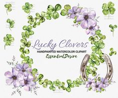 Four Leaf Watercolor Clover St Patricks Day by EssentialDesire