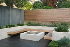 raised bed, built-in bench + firepit