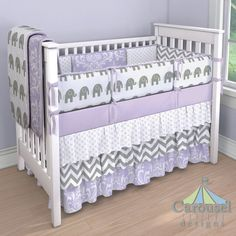 Lilac and Gray Girl Crib Bedding: Solid Lilac, Lilac Osborne Damask, White and Gray Elephants, Lilac Chelsea, White and Gray Zig Zag. Created using the Nursery Designer® by Carousel Designs where you mix and match from hundreds of fabrics to create your own unique baby bedding.