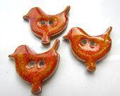3 handmade ceramic orange bird buttons