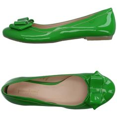 Primadonna Ballet Flats ($33) ❤ liked on Polyvore featuring shoes, flats, light green, round toe flats, ballerina shoes, ballet shoes flats, bow ballet flats and flat ballet pumps