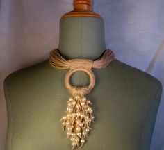 Necklace linen thread knots pearl waterfall by espurna88 on Etsy, €36.40