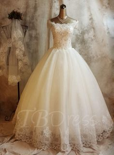 Ball Gown Off-The-Shoulder Lace Church Sequins
