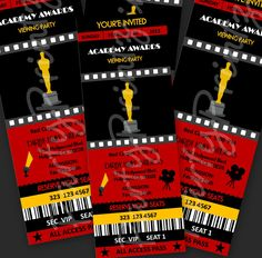 Printable - Academy Awards - Oscars - Hollywood Party  - Event Ticket Invitations