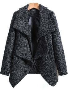 Grey+Lapel+Long+Sleeve+Woolen+Coat+US$32.50