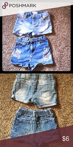 Girls 2 pack shorts/jeans Xhilaration with rhinestones and light wash/ faded glory in floral Bottoms Shorts