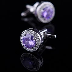 Purple Crystal Inlay Cufflinks