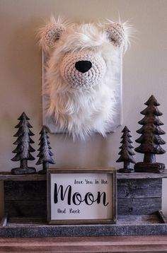 Plush Polar Bear head wall mount Mountain nursery decor