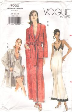 1990s Vogue 7030  Misses Sexy Nightgown Teddy  Shawl Collar Peignoir Robe womens sewing pattern by mbchills