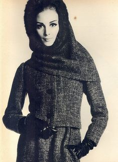Model Wilhelmina Cooper is wearing a creation by Christian Dior.  Italian Vogue,September 1962.