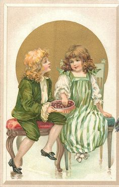 boy and girl sit on chairs, he offers her chocolates, gilt circle behind. E.J. Andrews