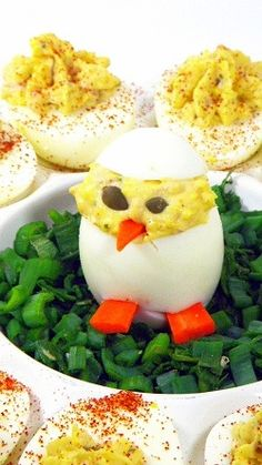 CHICKEN Loaded Cajun Deviled Eggs...    Aren't these the most incredibly cute things in the world?  Easy to make and will be the hit of the Super Bowl party table!